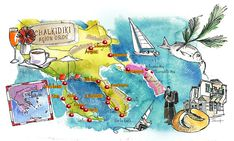 Halkidiki Macedonia and Agion Oros Greece art map on Behance
