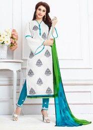 Daily Wear White Cotton Resham Work Salwar Kameez