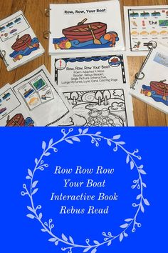 Row Row Row Your Boat This is a great song for circle time fun. As the rhyme is short with repeating lyrics it is great for beginner speakers including preschoolers, kindergarteners, English Language Learners and those with speech and language difficulties.    • The first part is the rhyme in large pages • The second part is appropriate for those children that are readers or it can be read to the child.  • The third part has pictures and words in a rebus read. • The fourth part has both the…