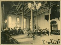 Piano performance in Administration Building ballroom at Athens Asylum for the Insane, left view, circa :: Athens Mental Health Center :: Ohio University Libraries. Mahn Center for Archives and Special Collections