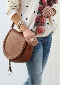 Brown saddle bag with braided tassels | Sole Society Thalia