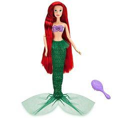 Ariel Doll Disney Princess The Little Mermaid Sing Shimmer Jewel Necklace Dress