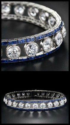 French Art Deco diamond and sapphire bracelet, circa 1925. 10 carats of diamonds bordered by calibre-cut sapphires.