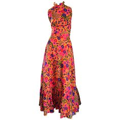 Amazing 1970s 70s Colorful Psychedelic Chiffon Floral Ruffle Vintage Maxi Dress | From a collection of rare vintage day dresses at https://www.1stdibs.com/fashion/clothing/day-dresses/