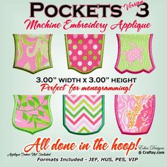 Pockets Applique Machine Embroidery - via @Craftsy