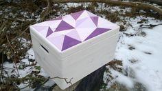 Painted Wooden Crate with Lid  15L x 12W x 9H40 от CraftandCrate, triangle pattern, toy box, geometric design