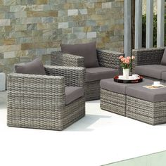 Upton Home Brixton Outdoor Wicker Chair and Ottoman 4pc Set | Overstock™ Shopping - Big Discounts on Upton Home Sofas, Chairs & Sectionals
