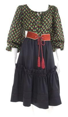 70's Yves Saint Laurent Gypsy Blouse and Skirt