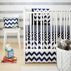 New Arrivals | Zig Zag Baby in Navy Crib Bedding Set