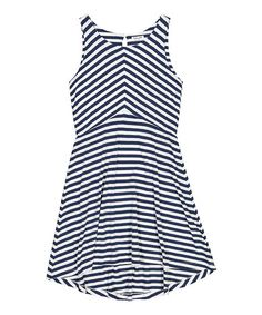 Love this Navy Stripe Sleeveless A-Line Dress - Kids & Tween on #zulily! #zulilyfinds