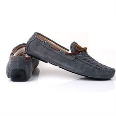 Men Scrub Leather Driving Shoes In Gray - Shipping Cap Promotion- - TopBuy.com.au