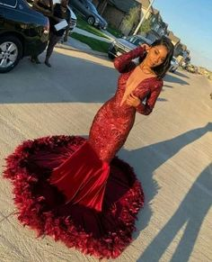 Looking for Prom Dresses,Evening Dresses in Sequined, Mermaid style, and Gorgeous Beading,Feathers work? Babyonlinewholesale has all covered on this elegant Burgundy V-neck Long sleeve Sequined Mermaid Velvet Fur Prom Dresses. Black Girl Prom Dresses, African Prom Dresses, Senior Prom Dresses, Pretty Prom Dresses, Prom Outfits, Mermaid Prom Dresses, Red Mermaid Dress, Orange Prom Dresses, Wedding Dresses
