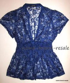 MAURICES Womens PLUS 2 2X Bright BLUE Babydoll LACE Top Shirt Blouse Dressy #Maurices #Blouse #EveningOccasion