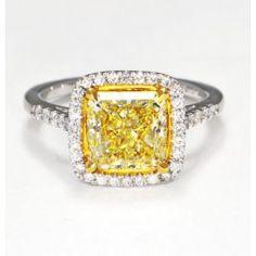 3.03 carat yellow diamond engagement ring