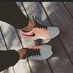 Nike coral and grey.