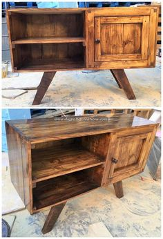 Wood pallet is quite commonly used when it comes to the cabinet ideas for the house areas. Pallet Ideas Easy, Diy Pallet Projects, Garden Projects, Old Pallets, Wooden Pallets, Pallet Wood, Outdoor Pallet, Diy Pallet Sofa, Pallet Furniture