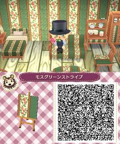 ACNL QR Code: Floral & Green Fabric