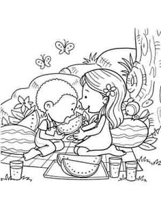 Coloring page. Information Age, Coloring Pages For Kids, Picnic, Art, Children, Kids Coloring Pages, Art Background, Coloring For Kids, Kunst