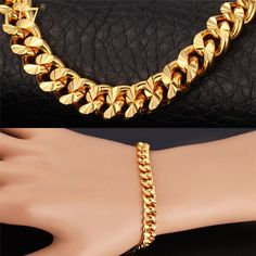 U7 Gold Plated Bracelet Items Trendy Rose Gold Plated 21CM 7MM Cuban Link Chain Bracelet Men Jewelry H608