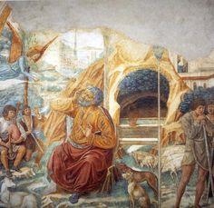 """Tabernacle der Heimsuchung: Verkündigung an Joachim"", freskos von Benozzo Gozzoli (1420-1497, Italy)"