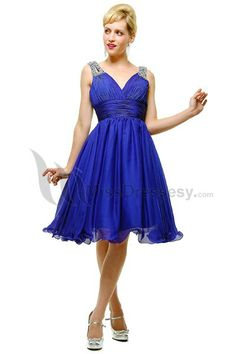 Buy Cheap Chiffon Bridesmaid Dresses - Princess Knee Length Royal Blue Tank Straps Deep V-neck Ruched Prom Dresses Bridesmaid Dress under $128.99 only in Dressunny.