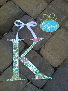 Ready to Ship, great gift. Greek Kappa in Kappa Delta print <3 Lilly