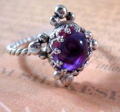 Sterling Silver Amethyst Renaissance Ring