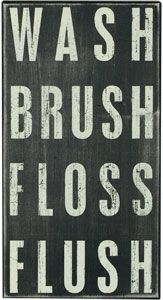 frazzleberries country wash brush floss flush wood sign