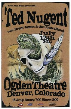 Original concert poster for Ted Nugent at The Ogden Theatre in Denver, CO in 2011.  11x17 card stock. Art by Mark Serlo.