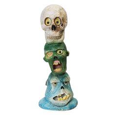 Zombie Skull Totem Pole Glow in the Dark Aquarium Ornament | thatpetplace.com | #AquariumDecorations #Zombie
