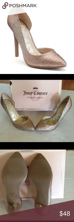 JUICY COUTURE WOMENS HIGH HEELS ( Sz 7.5) Juicy couture WOMENS high heels with silver & golden glitter . SHOE feature - Faux - patent look. SHOE construction- Patent , man made upper. Manmade lining .Shoe details - Pointed toe , Slip on. Lightly padded footbed. 4 in heel. BRAND NEW WITH TAG. Juicy Couture Shoes Heels