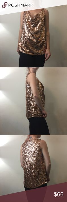 Alice + Olivia Bronze Sequin Cowl Neck Blouse Top Alice + Olivia Top with no sleeves and is adorned with bronze sequins and has a cowl neck. Super cute with a tunic style and is a size small. Worn once is a sample Alice + Olivia Tops