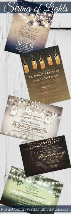 Rustic String of Lights Wedding Invitations
