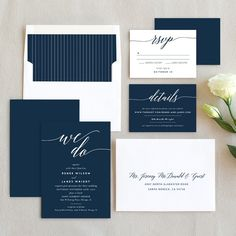 We Do Wedding Invitation Suite in Navy and White at Elli.com