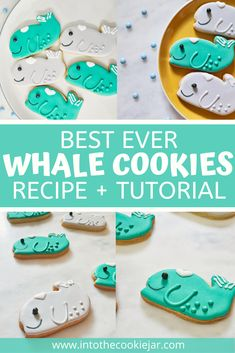 Check out this guide to the best ever whale cookie recipe, including a tutorial on how to decorate the whale cookies using royal icing. These whale cookies are made with a sugar cookie cut-out recipe and the best royal icing recipe, along with grey and turquoise food coloring. They are great for kid's birthday parties. Best Royal Icing Recipe, Royal Icing Cookies Recipe, Cookie Recipes For Kids, Best Cookie Recipes, Dessert Recipes, Animal Cookies Recipe, Whale Cookies, Icing Tips, How To Make Cookies