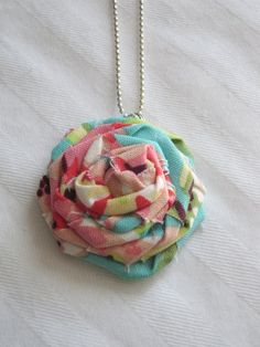 Fabric Rosette Necklace Amy Butler Fabric by LaurasCraft on Etsy
