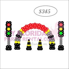 Cars decoration balloon package -1 Arch -2 columns -2 balloons traffic cones