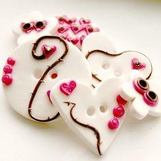 Raspberry Vine JUMBO SIZE handmade buttons set of 6 by TessaAnn,