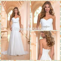 Vestido De Noiva 2015 New Arrive Stock Dress White/Ivory Chiffon Fashionable Wedding Dress Wedding Gowns Vestido Robe De Marriage, $72 http://s.click.aliexpress.com/e/NNzBqNJYj