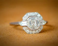 1.17ct Art Deco Style Bullet Engagement Ring - Estate Diamond Jewelry