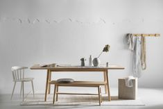The New Moya Dining Table and bench looking stunning in this shot for / Haymes Soft Feathers and Haymes Artisan Rendercoat in White Stone. Gorgeous styling as always by and photography by . Interior Color Schemes, Room Color Schemes, Room Interior Design, Room Colors, Interior Paint, Timber Furniture, Furniture Design, Simple Bedroom Design, Rustic Feel