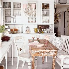 shabby chic french kitchen <3 Would like a little more room in the middle for the table/chairs.