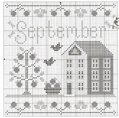 Fall Cross Stitch, Cross Stitch House, Cross Stitch Needles, Cross Stitch Samplers, Counted Cross Stitch Patterns, Cross Stitch Charts, Cross Stitch Designs, Cross Stitching, Cross Stitch Embroidery