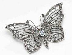 Sterling Silver Butterfly with Marcasite & Semi-precious stone detail
