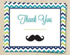 Baby Shower Thank You Cards Mustache Card Set By Jdoorecreations