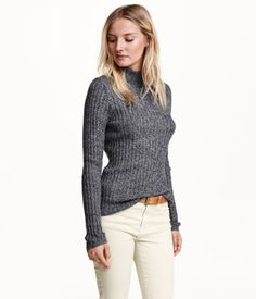 Dark grey melange, turtleneck sweater in a soft rib knit with wool content. | Warm in H&M
