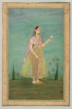 Woman with a Flower. Mughal school, second half of the 17th century.