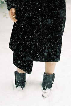 woman in deep snow