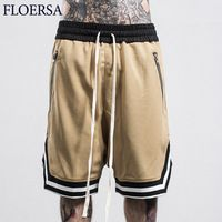 FLOERSA Summer Shorts Men Fashion Loose Mens Shorts Sweatpants Casual Hommes Zipped Pocket Short Bermuda Joggers Trousers#C48633