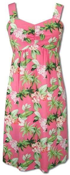 0da25c0e55 Hawaiian clothing dress styles · Pink Plumeria Fantasy. Wide Strap Sundress  created in Pink